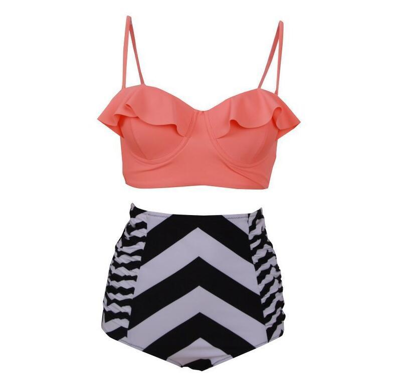 2018 Sexy bikini a vita alta Costume da bagno Ruffle Swimwear Donna a righe Biquini Swim Costume da bagno a spalla Swimwear Bikini Donna