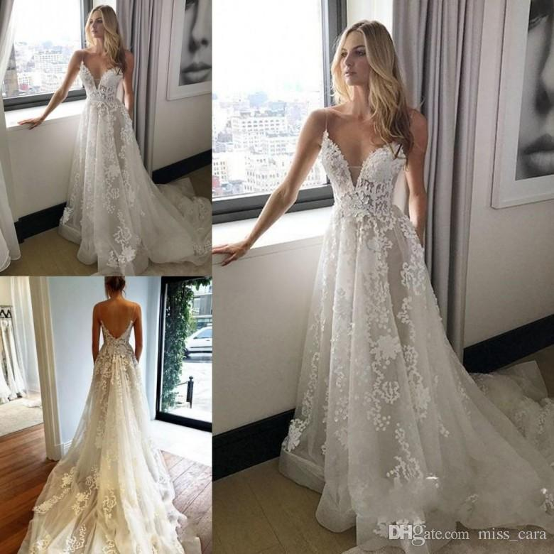 2018 Spaghetti Strap A Line Berta Wedding Dresses Lace Backless Appliques Plus Size Bridal Gowns Court Train Vestido De Novia