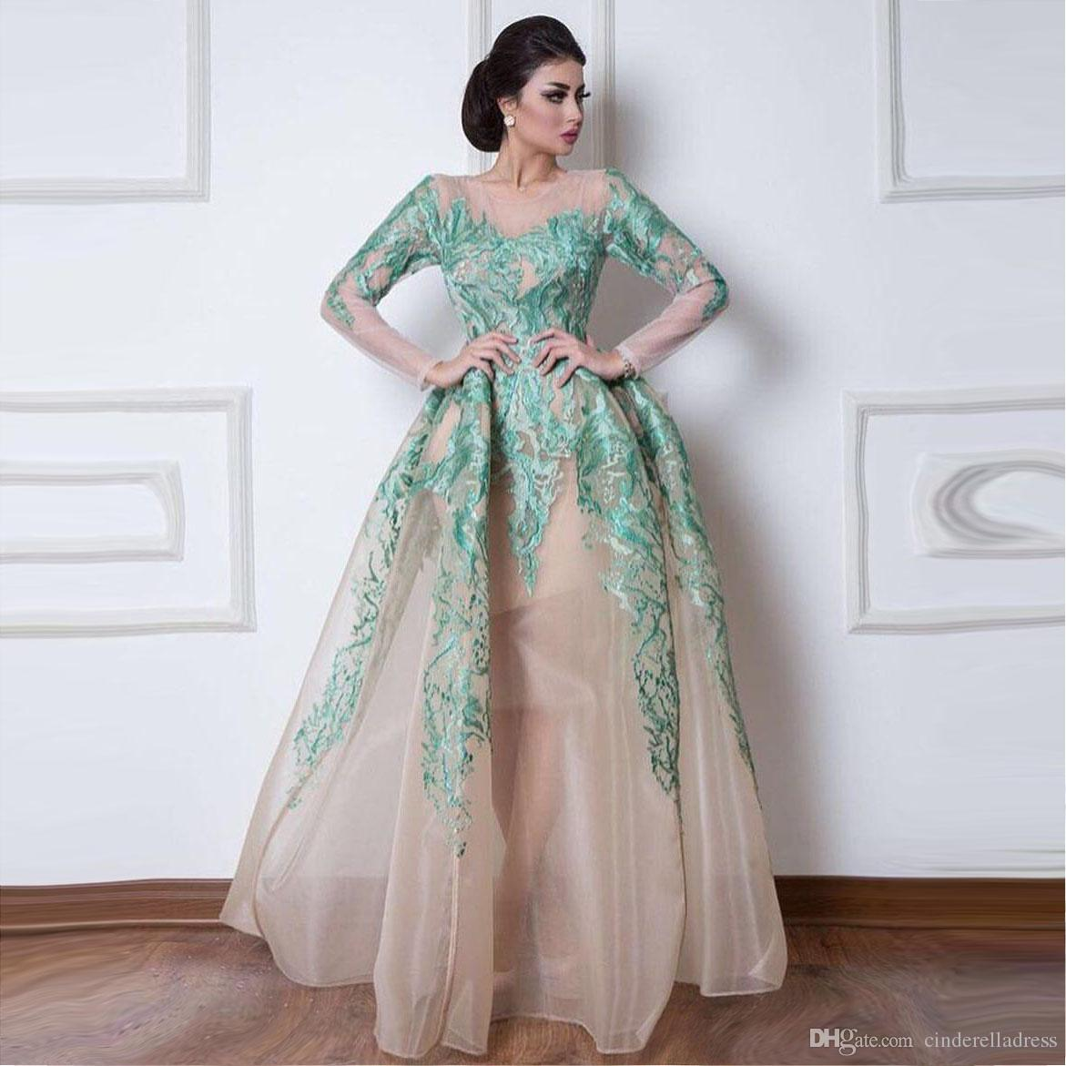 Vintage Arabic Dubai Evening Dresses 2020 Ball Gowns Sheer Long Sleeves Mint Green Appliques Pageant Celebrity Gowns Prom Dress BA9610