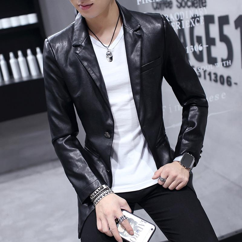 2019 Wholesale Quality New PU Leather Jacket Men 2017 Slim Fit Long Sleeve  Mens Motorcycle Jackets Fashion Blazer Style Men\u0027S Long Coats From Cutee,