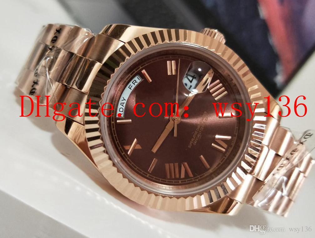New High Quality Präsident Day-Date 41 MM 18 Karat Roségold 228235 Automatikwerk Herrenuhren Brown Dial Herren Casual Uhren