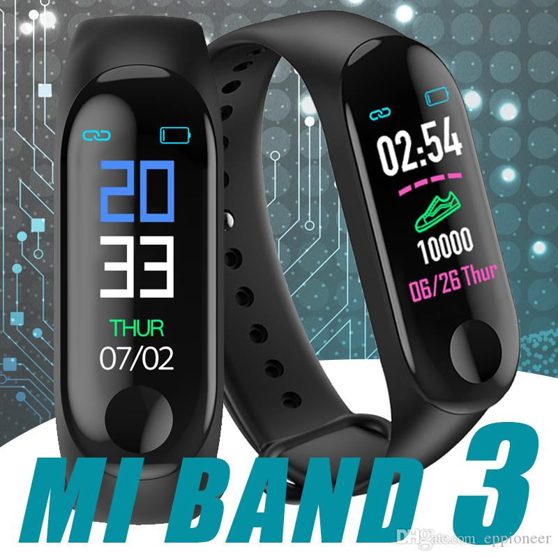 M3 Smart Bracelet Heart Rate Monitor Fitness Tracker Wristband Blood Pressure USB charger Sport Smart Mi Band 3 With Retail Box