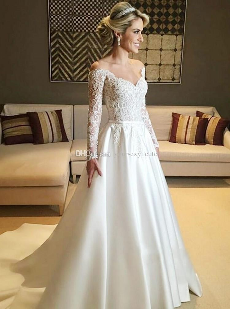 Modest Long Sleeves Wedding Dresses V Neck Off The Shoulder Lace Satin Aline Princess Bridal Dresses Floor Length Wedding Gowns