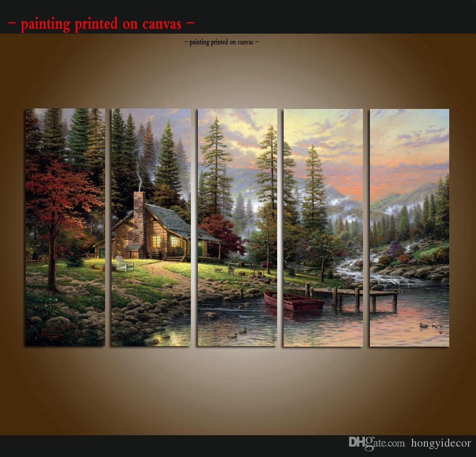 Large 5 Piece picture Thomas Kinkade Landscape Oil Painting Reproduction Giclee Print on Canvas Modern Art wall for living room Home Decor