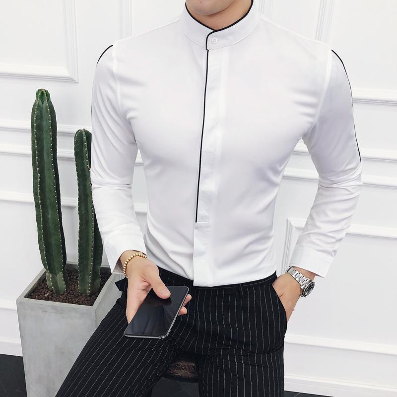 Contraste Piping Stand Collar Camisa de manga larga Diseño sólido Madarin Collar Slim Fit Camisa Social Masculina Camicie Uomo
