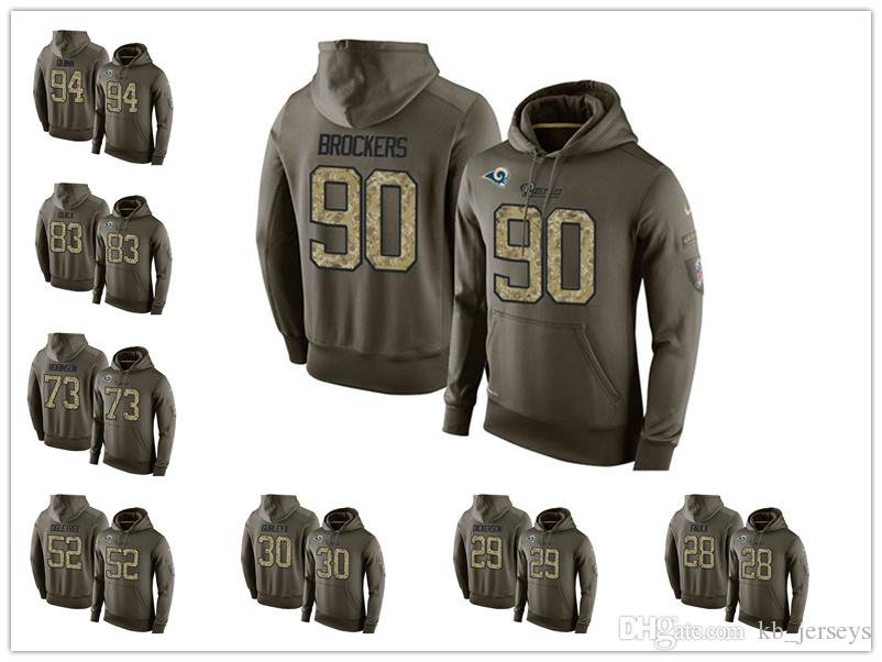 best website 98c9f a7ac2 2019 Rams #30 Todd Gurley II 99 Aaron Donald 16 Jared Goff Sweatshirt Los  Angeles Rams Football Hoodie Olive Salute To Service From Goodtopnew5, ...