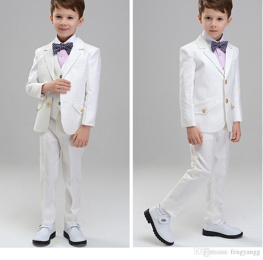 Compre Moda De Niño Blanco Ropa Formal Notch Lapel Boy Kid Vestir Ropa Para Niños Trajes De Tres Piezas Para Niños Para La Boda Chaqueta Pantalón