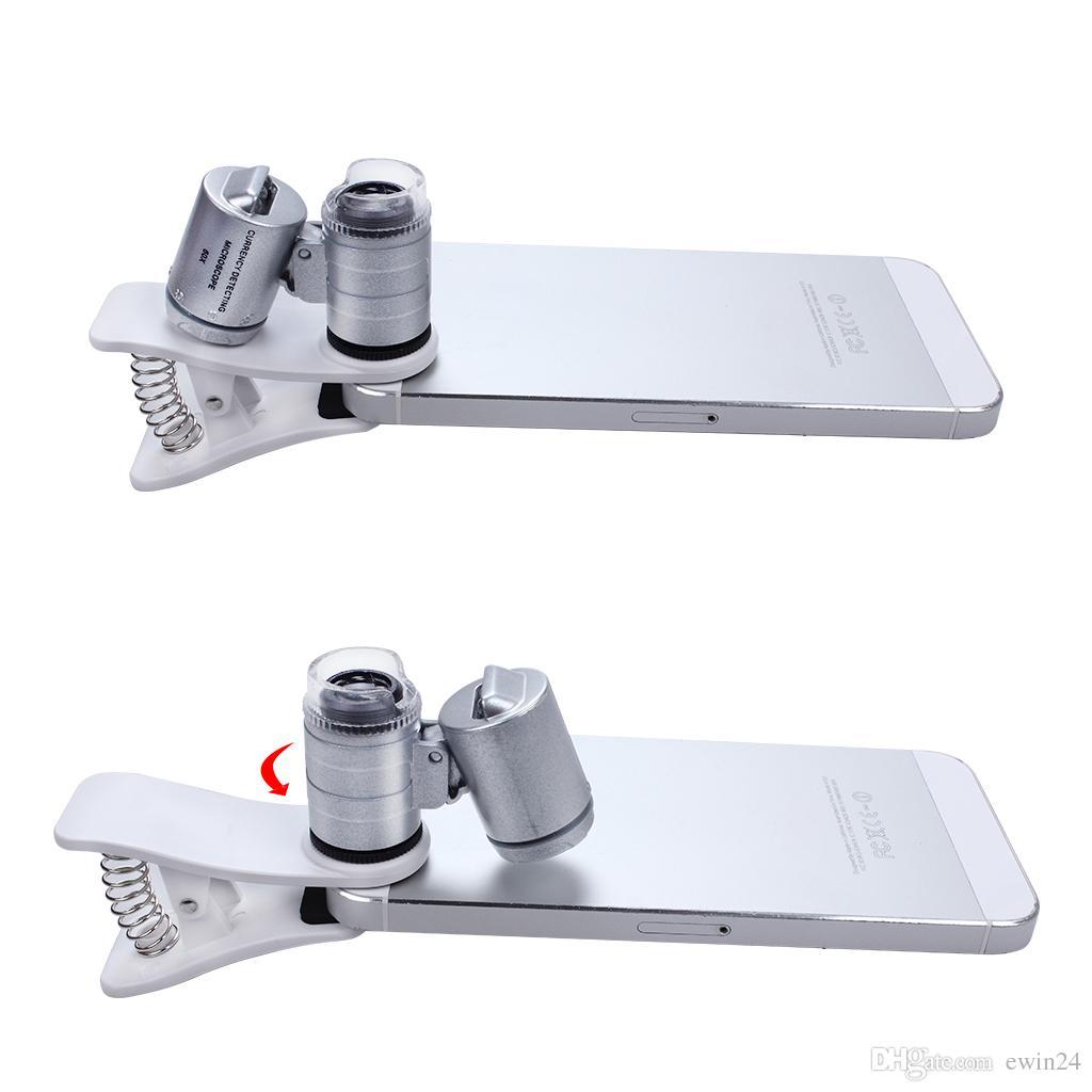 60x зум LED клип-на тип лупа микроскоп ювелирные изделия лупа лупа Микрообъектив для универсальных мобильных телефонов карманный размер