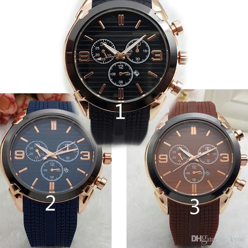 Relogio Masculino 45mm Military Sport Style Große Herrenuhren Modedesigner Blue Brow Schwarzes Zifferblatt Einzigartige Silikon Big Male Clock Watche