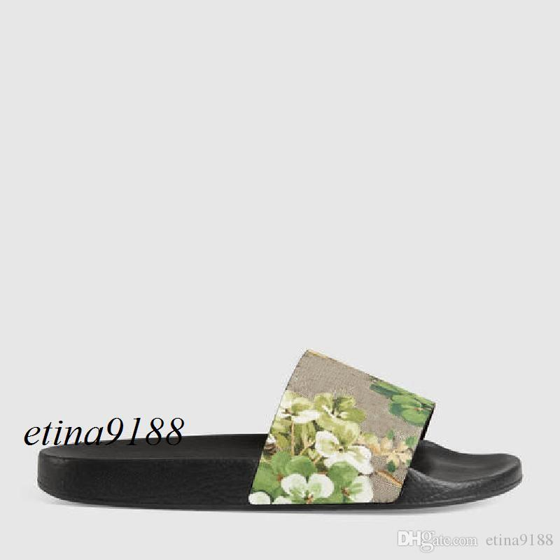 2018 mens and womens fashion green flower blooms printing leather slide sandals with rubber sole boys girls size euro34-45