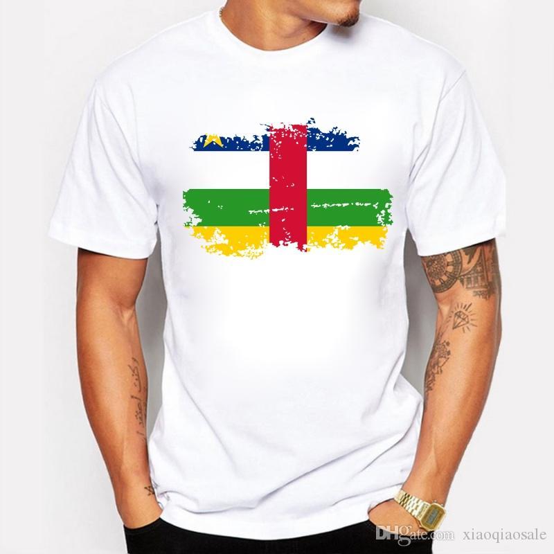Nova África Central Bandeira T shirt Homens Moda Impressão de Algodão T-shirt Do Verão Fresco África Central Bandeira Nacional Tee