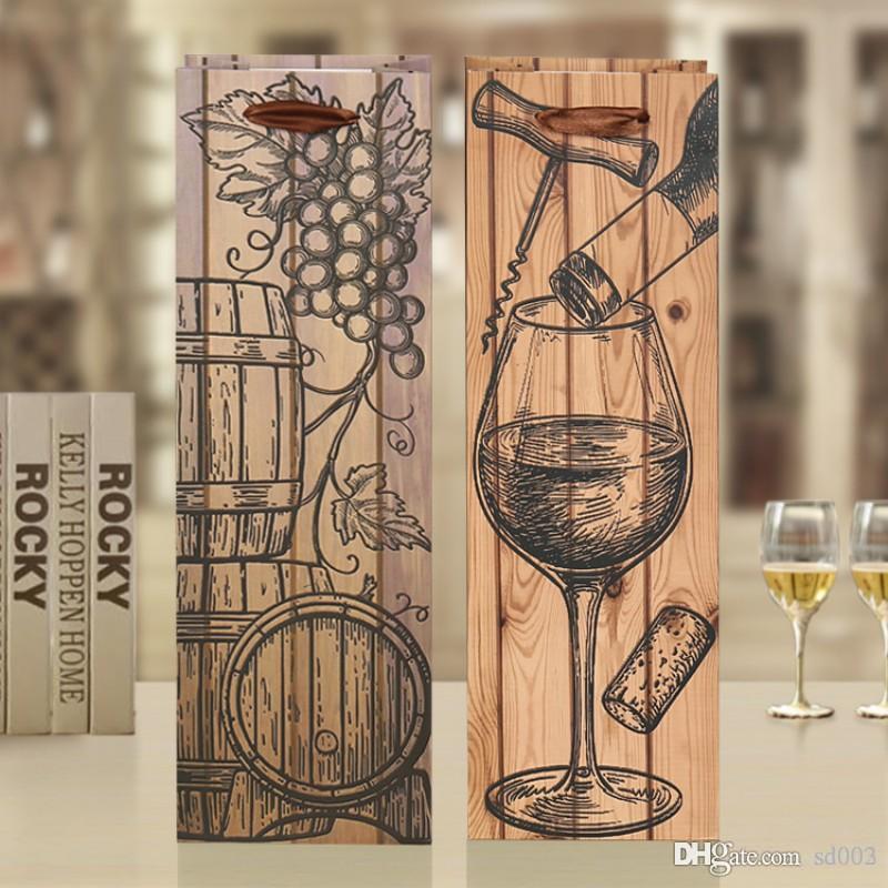 정사각형 작은 와인 병 가방 리프트 로프와 브라운 Resuable 종이 보관 가방 두꺼운 토트 파우치 간편한 운반 1zs B