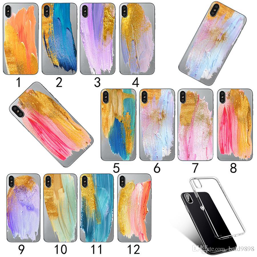 Caja creativa del teléfono del silicio de la pintura del cepillo para el iPhone 7 8 más Hojas pintadas de las hojas para el iPhone X 8 7 6 6S Plus 5 5S SE Cubierta suave de TPU