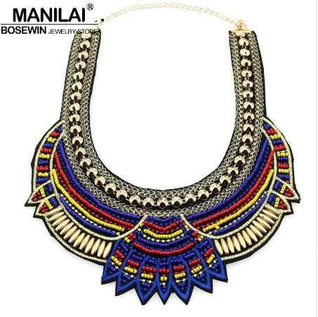 MANILAI Fashion Handmade Ethnic Choker Necklace Bib Collares Multicolor Beads Statement Necklaces Boho Jewelry Women Accessories
