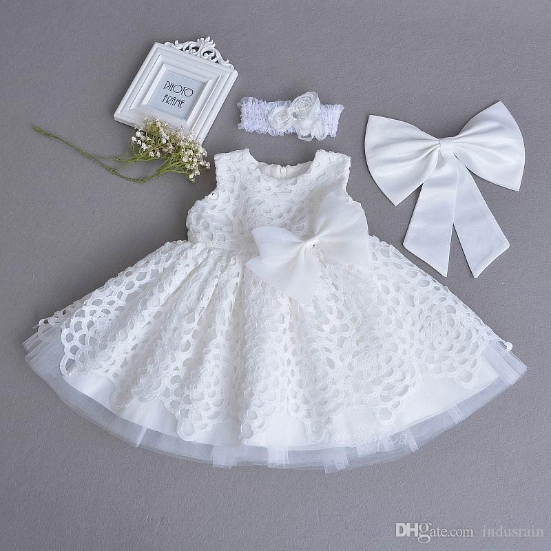 Einzelhandel Baby Taufkleid Spitze Weiß Ärmellos Ersten Geburtstag Party Kleid Stirnband Kinder Kleidung