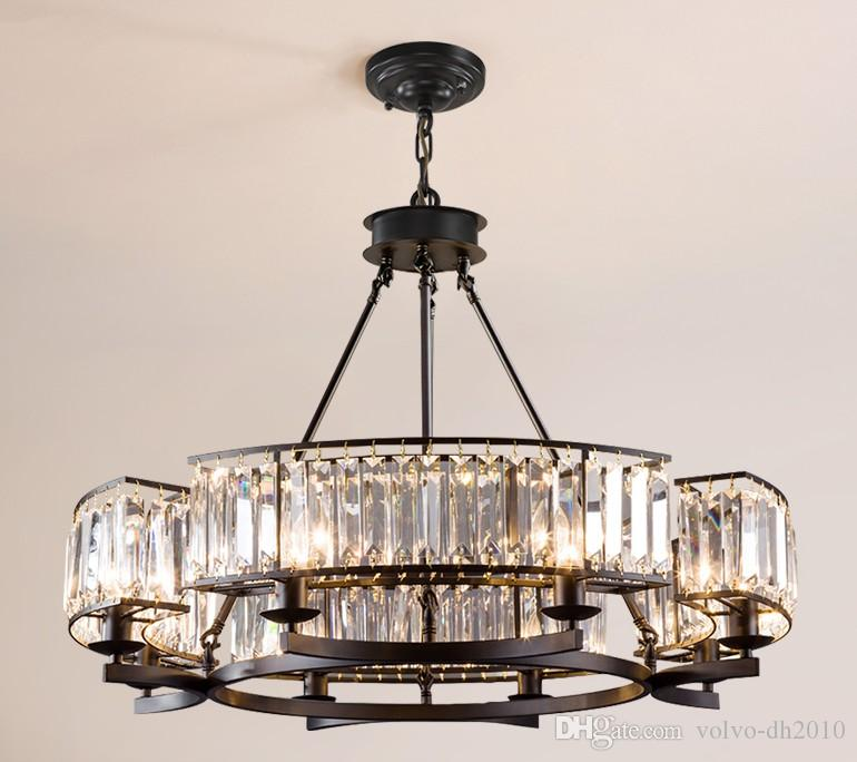 American Retro Industrial RH Loft Led Chandelier Lustre Crystal Pendant Chandelier French Style Living Room Chandelier Lighting LLFA