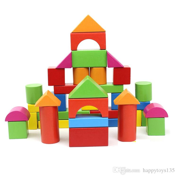 40PCS wood blocks baby toys 1-6 years old girl or boy toys blocks bricks for baby gift wholesale educational parent-child toys