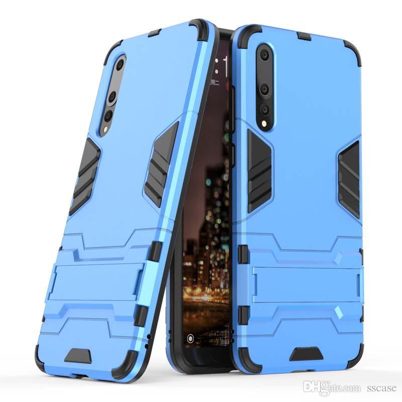 إلى Huawei P20 Lite Pro Case غطاء الهاتف المحمول Slim Armor Case Hybrid Combo Cover Luxury 2 in 1 Anti Shock Iron man