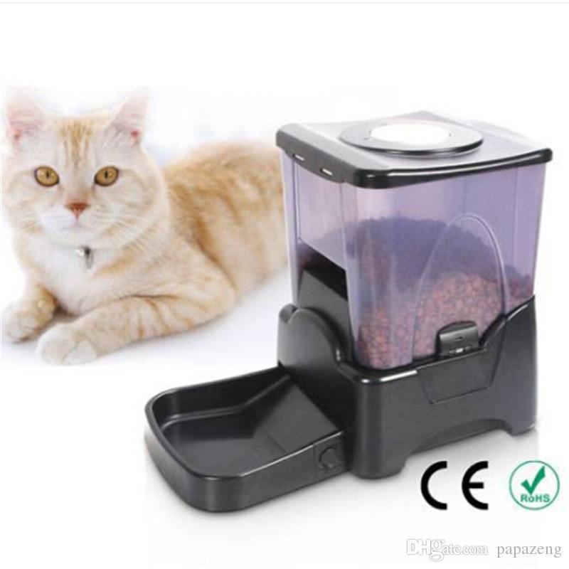 ¡Ventas al por mayor! PF-10A Control de Porción de Alta Capacidad Alimentador de Mascotas Automático Dispensador de Alimentos Alimentador Automático Negro Waterers