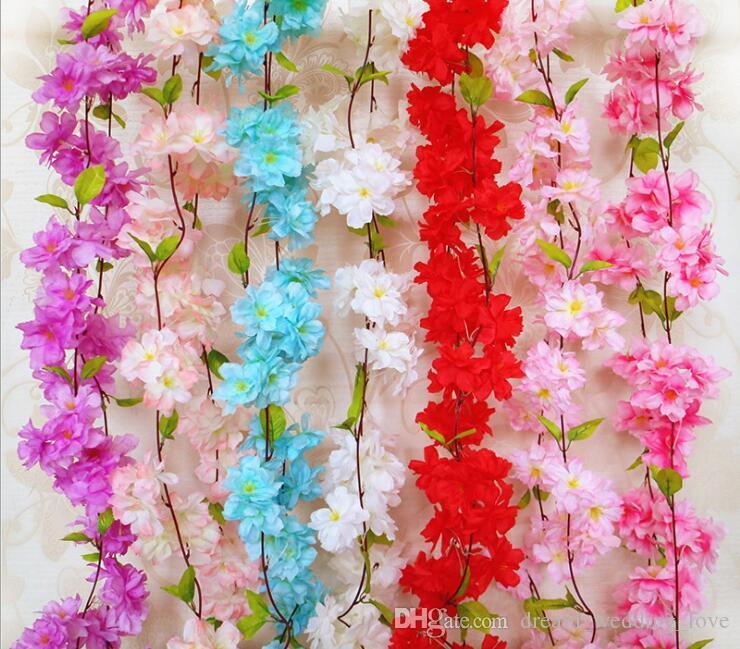 Cherry Artificial Flowers Cherry Blossom Sakura canna artificiale per decotations da sposa fiore a parete stringa AF07