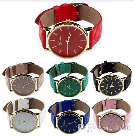 Nuevas mujeres reloj de pulsera Ginebra marca Ladies Faux Leather reloj de pulsera de cuarzo analógico reloj de mujer relojes DropShipping # YY