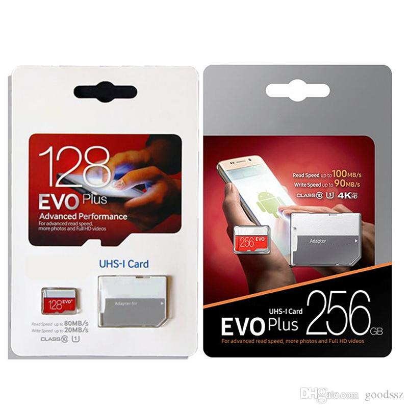 256GB 128GB 64GB 32GB 검은 색 VS 흰색 EVO PLUS EVO + TF 트랜스 플래시 메모리 카드 90MB / s 80MB / s 클래스 10