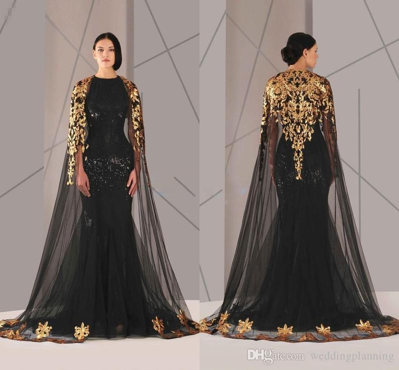 2018 Black Arabic Muslim Prom Dresses Tulle Cloak Gold and Black Sequins Crew Neck Plus Size Mermaid Formal Wear Long Pageant Prom Dress