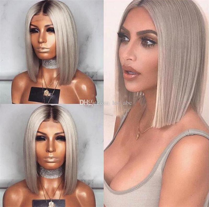 Hot Brazilian 1b#Grey Bob Full Lace Human Hair Wigs Straight Silver Gray Glueless Front Lace Wigs with Bleached Knots ombre Gray Bob Wig