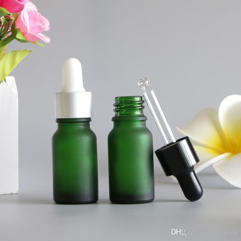 NEW 5pcs 30ml Green Frosted Glass Dropper Bottle To store Essential Oil