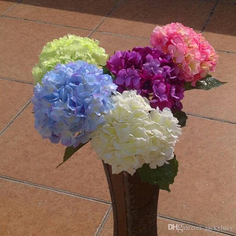 "Artificial Hydrangea Flower 80cm/31.5"" Fake Silk Single Hydrangeas 6 Colors for Wedding Centerpieces Home Party Decorative Flowers"