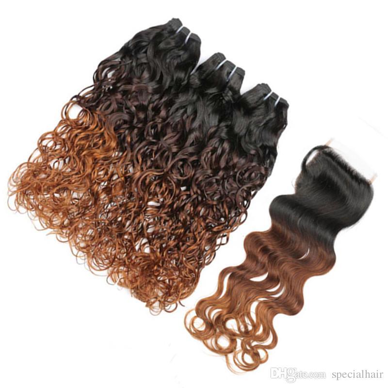 موجة المياه # 1B / 4/30 أوبورن أومبير البرازيلي العذراء الإنسان الشعر 3 حزم مع إغلاق الرطب مائج 3 نغمة أومبير ينسج مع إغلاق 4x4 الرباط