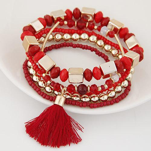 B0738 Second Nation Wind Manual Beads Hand String Pearl Tassels Wool Multi-storey Bracelet