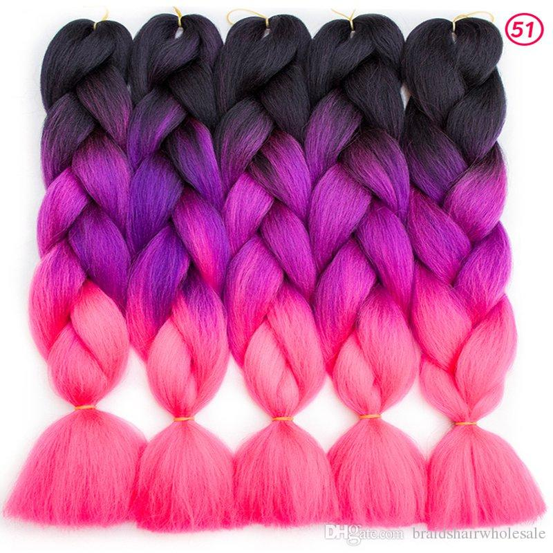 Ombre Braids Synthetic Hair 24Inch 100g/Pack Synthetic Jumbo Braids hair Ombre Crochet Braiding Hair Extensions African Hairstyle