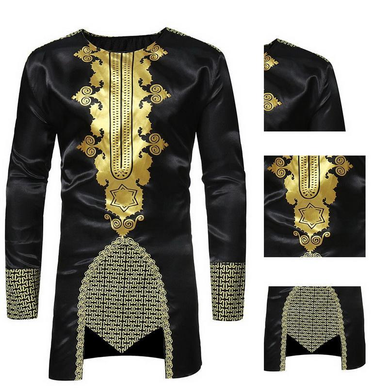 camisa 2018 New Tops chegada NIBESSER Africano Dashiki O pescoço tradicional Impressão Africano Long Sleeve Maxi camisa dos homens longa T