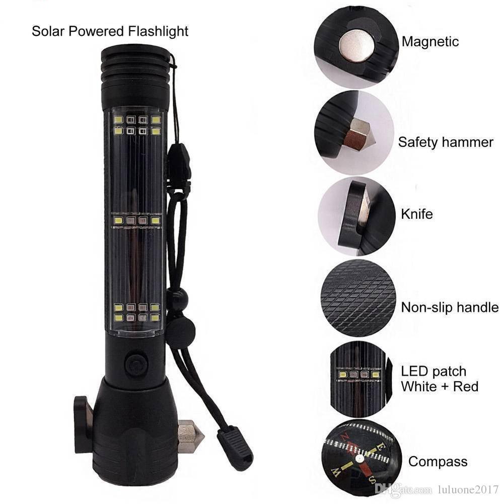 10 1 Çok fonksiyonlu Güneş Enerjisi LED El Feneri Araba Pencere Kesici Araçları Açık Kamp Yürüyüş Survival Acil Torch Işık