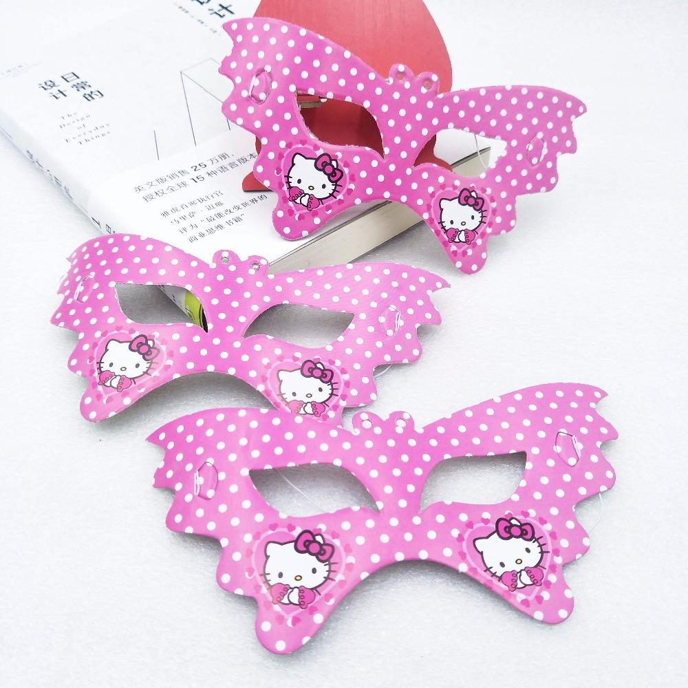 10pcs/lot Hello Kitty Paper Eye Cover Baby Shower Cartoon Decoration Kids  Favors Disposable Happy Birthday Party Masks Supplies