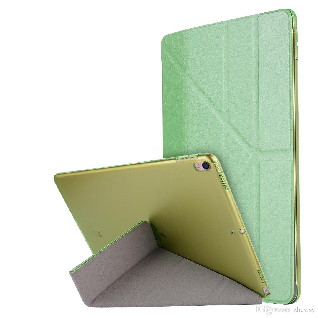 Applicable to iPad Pro10.5 Tri-Fold Silk Ultra-thin Sleep Cover Case Holster Green