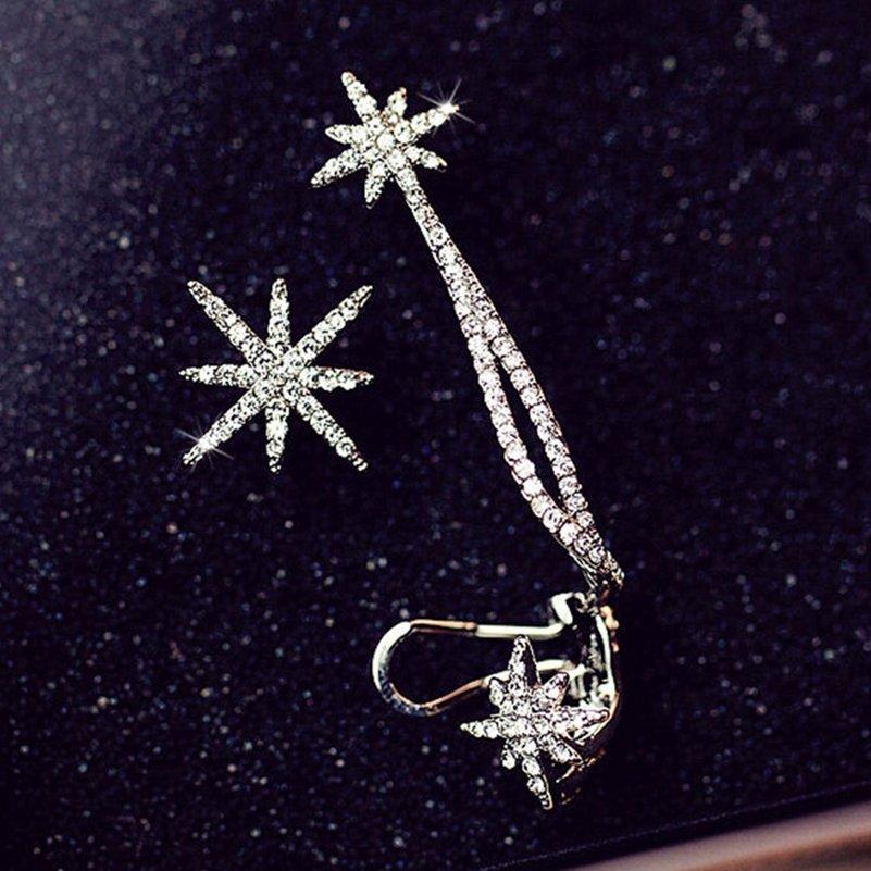 1PC di cristallo di lusso di asimmetria del fiocco di neve della stella dell'orecchio d'argento Cuff catena placcata clip dell'involucro orecchini per i monili di modo delle donne