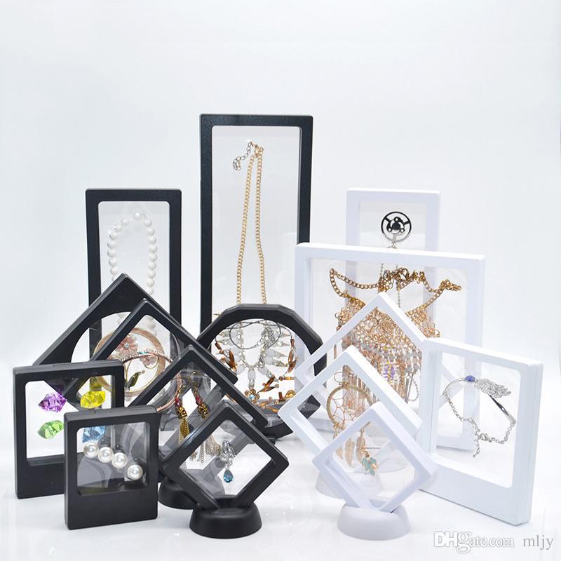 Vetrina galleggiante sospesa Display gioielli ciondolo anello espositore Bague Bague Packaging Box Protect Floating Presentation Case