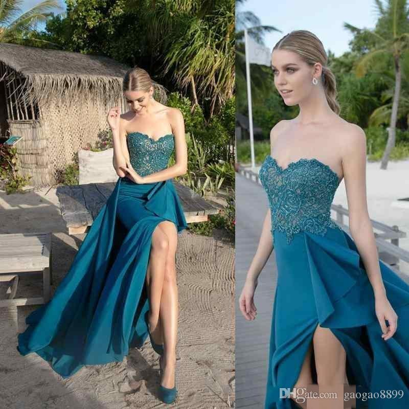 2019 New Arrival Formal Evening Dresses Front Split Full Length Robe Lace Strapless Dresses custom made formal Prom party Gowns Wear