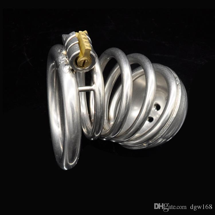 Jaula del pene de acero inoxidable con la manga de la manga del anillo de la polla del bloqueo de la correa de los juguetes de los sexos del cinturón de cinturón para los hombres