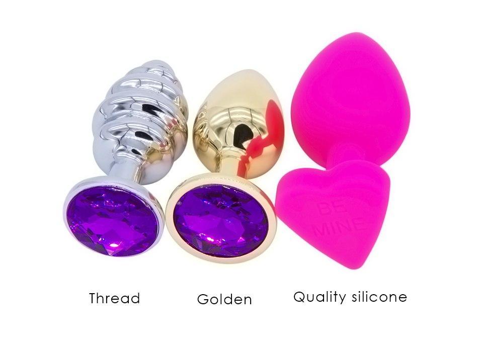 DOMI 3pcs/Set Small Medium Big Stainless Steel Metal Anal Plug Dildo Sex Toys Products Butt Plug Gay Anal Beads