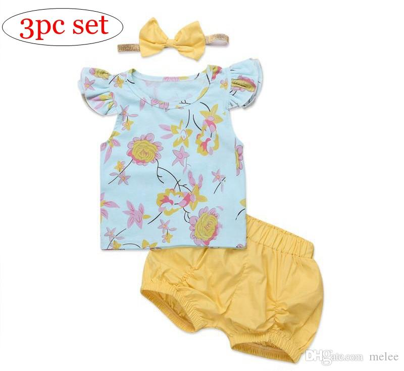 Summer Newborn Baby Girl Clothes Set Flying Sleeves Floral Tops T-shirt +Shorts Bottoms + Bow Headband 3PCS Baby Outfits Cute Girls Clothes