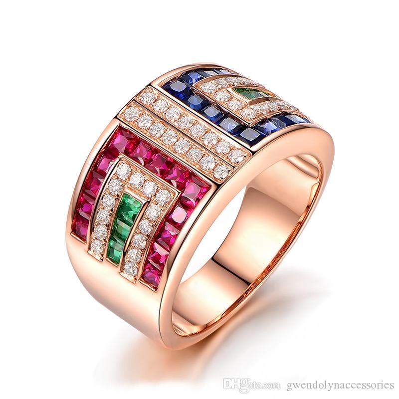 Anillo de bodas cristalino colorido del anillo de cristal nuevo diseño 18k anillo de bodas plateado oro para mujeres joyería al por mayor de calidad superior 10PCS / LOT