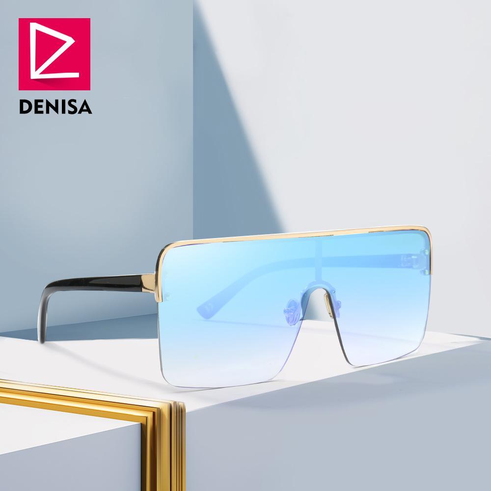 DENISA Praça Oversized Óculos De Sol Dos Homens 2018 Plus Size Óculos Mulheres Com Grande Semi-Rimless Quadro UV400 Gafas Del Sol Mujer 22083