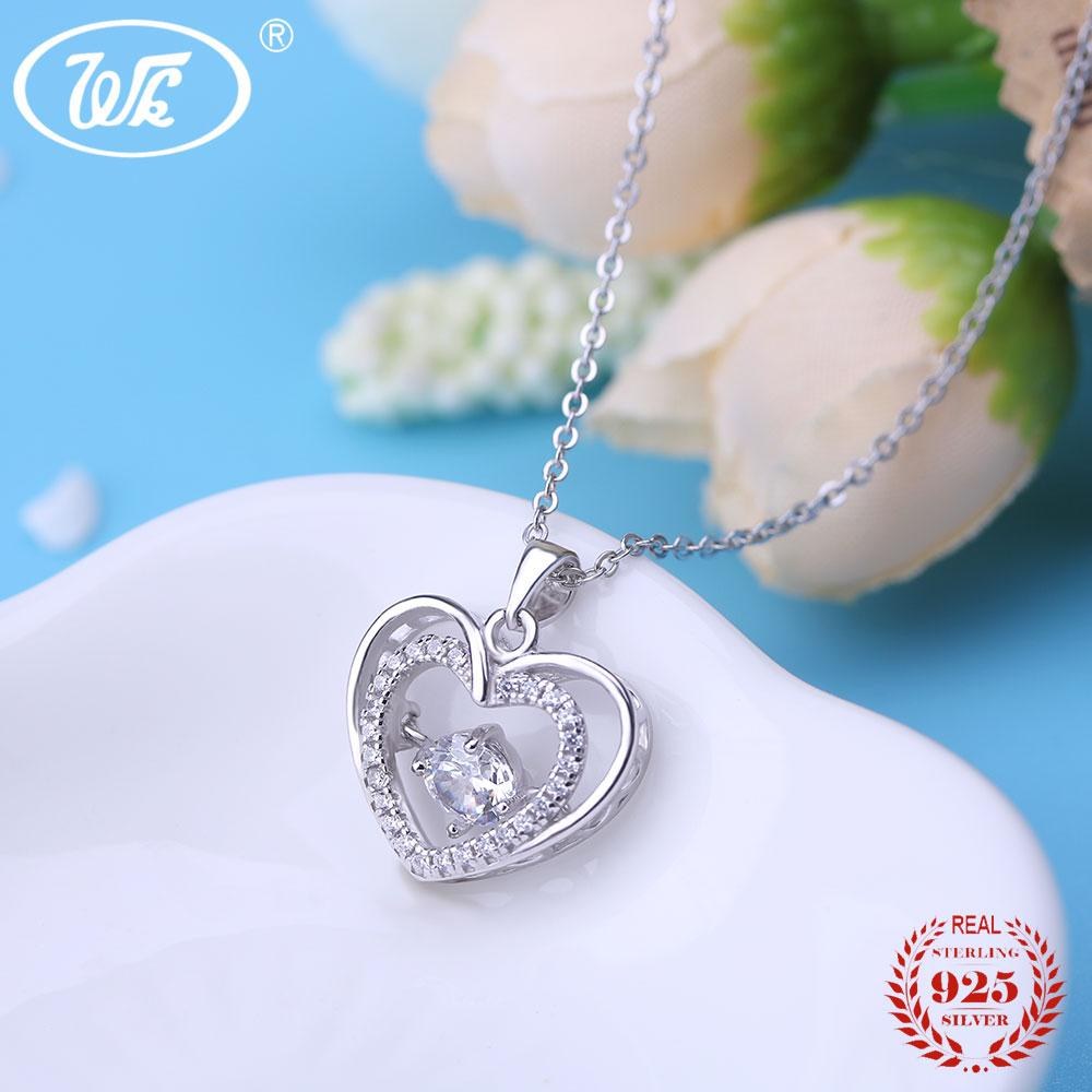 a9b98c10558 2019 WK Beautiful Love Heart Pendant Silver Necklace For Women Ladies  Elegant Charm Jewelry Gift 18 Inch Link Chain Collares SW NZ048 From  Dujuanflower, ...