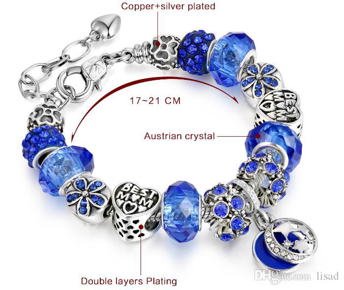 925 Silver Plated and Alloy DIY Blue Austrian Murano Glass Loose Beads Charms Bracelets for Good Sisters Friendship Chains Hands