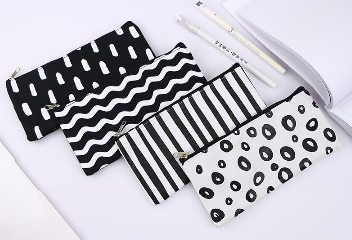 스트라이프 연필 가방 포켓 학교 화장품 화장 연필 주최자 가방 케이스 파우치 사무실 스쿨 용품