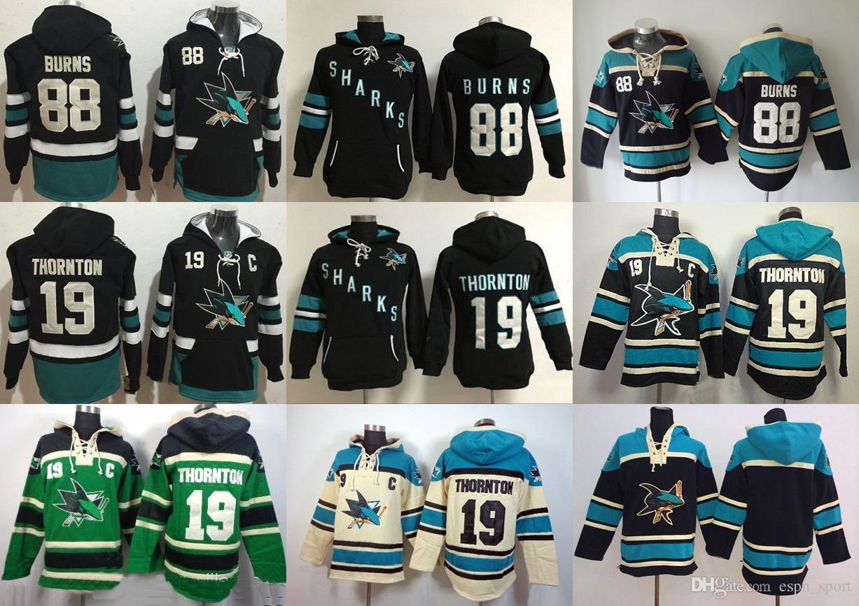Cheap San Jose Sharks Mens 88 Brent Burns 19 Joe Thornton Blank Custom any Name & Number Black Blue Beige Green Hoodie Sweatshirts Jerseys