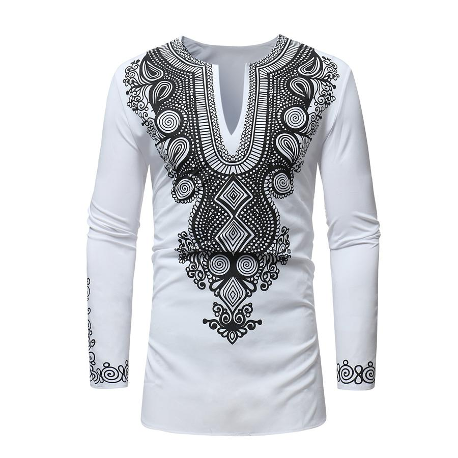 RICHE BAZIN African clothing New African dashiki style national wind printing V-neck long sleeve men's T-shirt Plus size